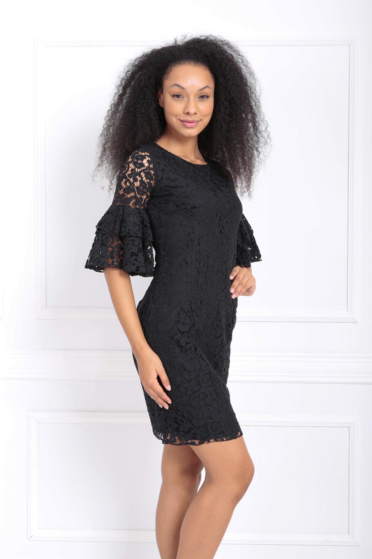 Sense Siyah Güpür Kolları Volanlı Elbise   Elb31293