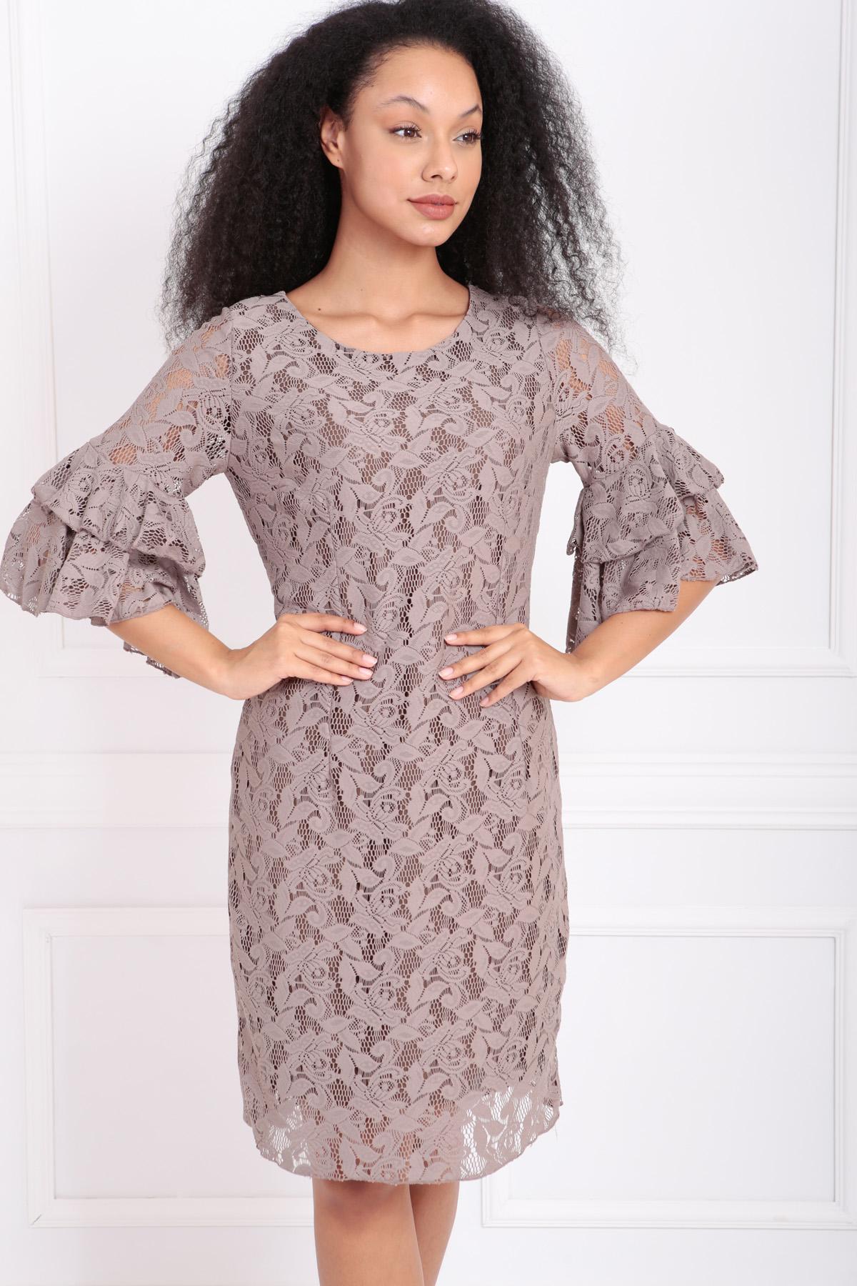 Sense Bej Güpür Kolları Volanlı Elbise | Elb31293
