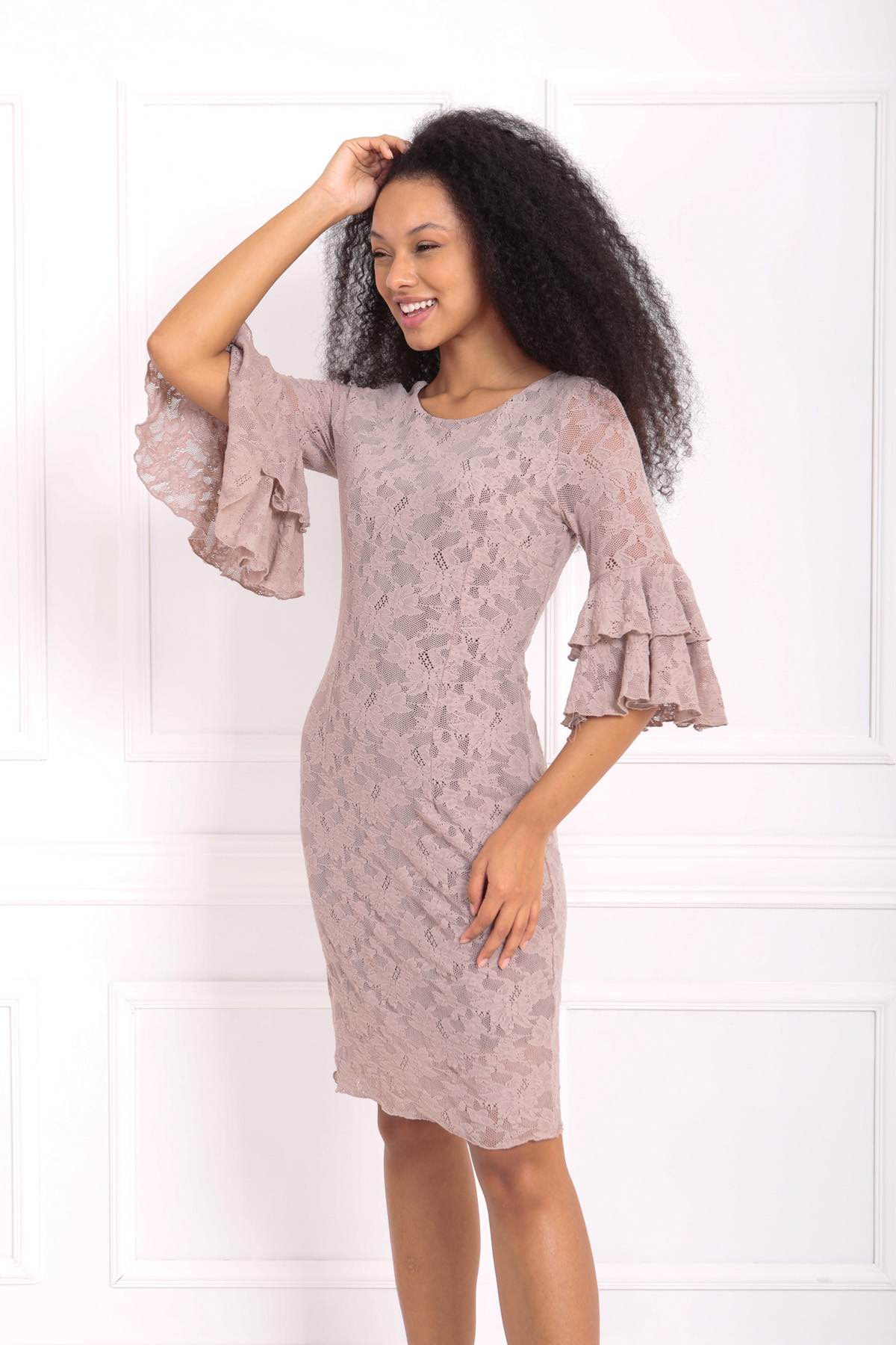 Sense Vızon Güpür Kolları Volanlı Elbise   Elb31293