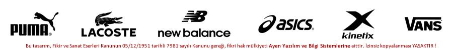 Puma, Lacoste, New Balance, Asics, Kinetix, Vans