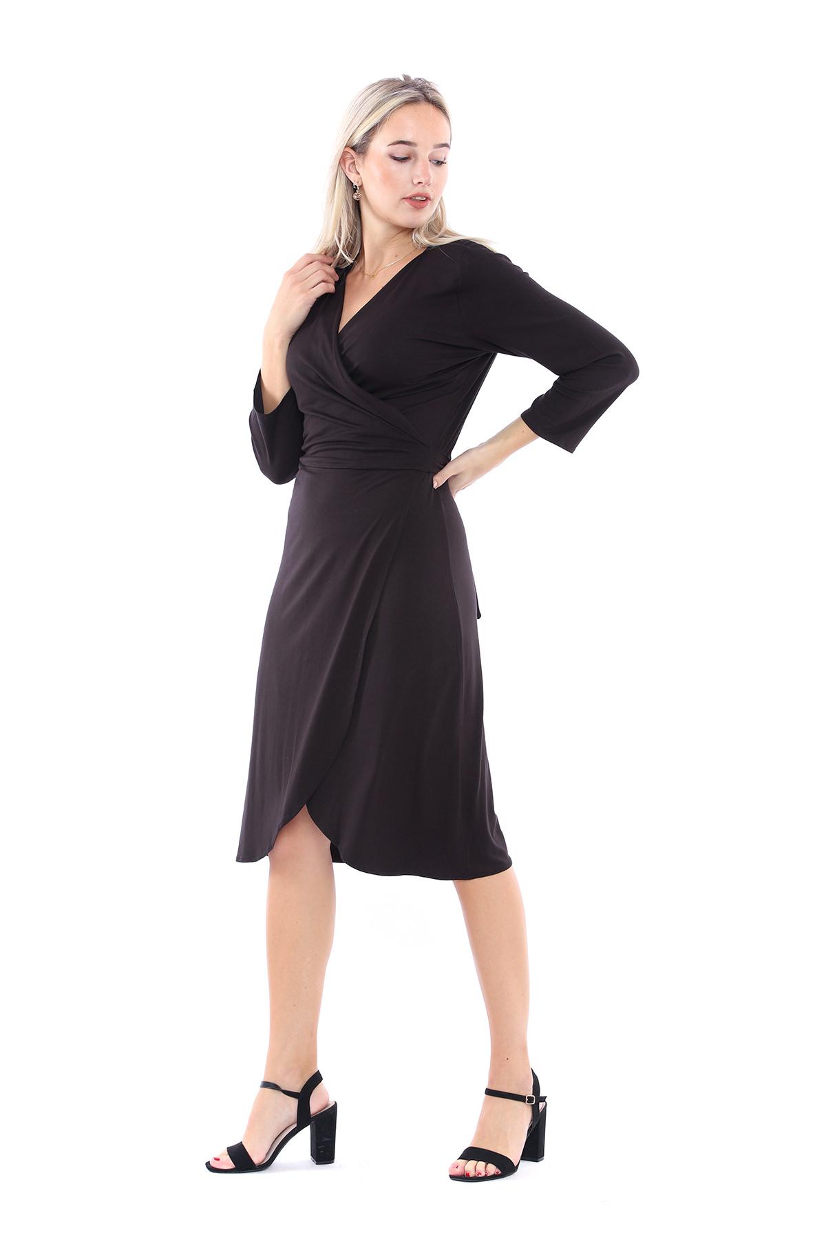 Sense Siyah Beli Kemerli Ofis Elbisesi